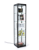 15.5-inch wide black glass curio cabinet display tower
