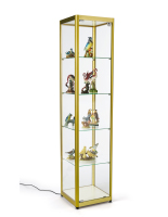 gold aluminum 15.5-inch wide full glass narrow tower