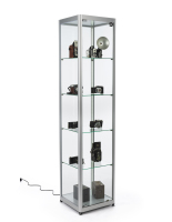 15.5-inch wide silver aluminum glass display tower