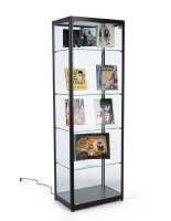 23.5-inch wide black glass curio display cabinet
