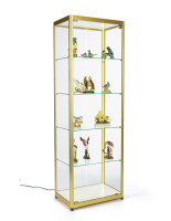 24-inch wide full glass narrow display cabinet in gold finish