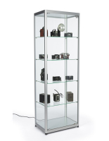 23.5-inch wide silver full glass narrow display showcase