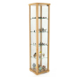 15.75-inch wide hornbeam wood glass curio cabinet tower display