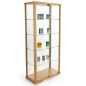 31.5-inch wide hornbeam wood tall glass display cabinet in natural light finish