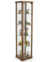 15.75-inch wide walnut glass tower showcase