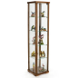 15.75-inch wide glass tower showcase with natural walnut finish