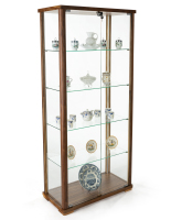 31.5-inch wide 4-shelf glass curio cabinet in walnut finish