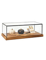 Wood glass tabletop keepsake display case with rustic black copper piping around edges