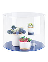 Clear acrylic round cylinder display case with bright blue base