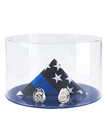 "Round display case with blue base with 12"" overall height"