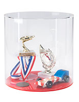 Round countertop display case with red acrylic base