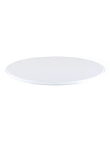 "DCR series 16"" white round acrylic showcase base with indent along edge"