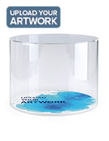 Branded round acrylic countertop display case with custom graphics