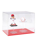Helmet display showcase with bright red acrylic base