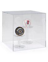 Acrylic ball display easy lift-off transparent cover