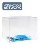 Acrylic display box case with branded base with half inch thick acrylic
