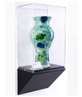 Wedge pedestal wall display case with clear enclosure