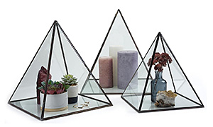 Group of three glass countertop display pyramids