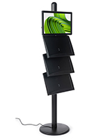 Black brochure stand with digital sign
