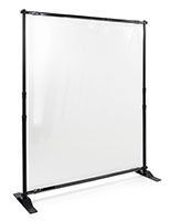 Sneeze shield room divider with clear PVC screen