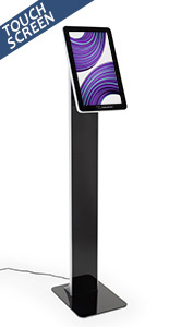 Black touchscreen pedestal stand