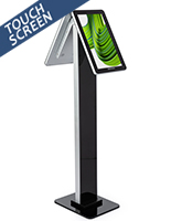 Double-sided interactive kiosk stand with 1080p HD resolution