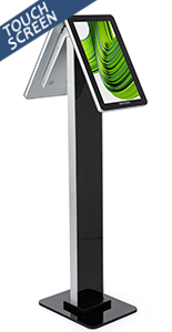 Double-sided interactive kiosk stand with 18 hours of operating time