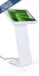 White touch screen monitor kiosk with vivid 32 inch display
