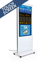 Digital signage display features a LCD panel and back lit LED screen