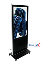 "55"" digital display advertising system with four caster locking wheels"