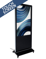 "55"" advertising multimedia kiosk with caster locking wheels"