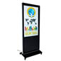 "Black 55"" advertising multimedia kiosk with sleek bezel design"