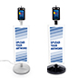 Contactless temperature scanning kiosk with custom signage and full color UV printing