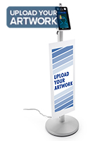 Contactless temperature scanning kiosk with custom signage and UV printing