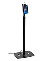 Adjustable height temperature kiosk with black powder coated stand