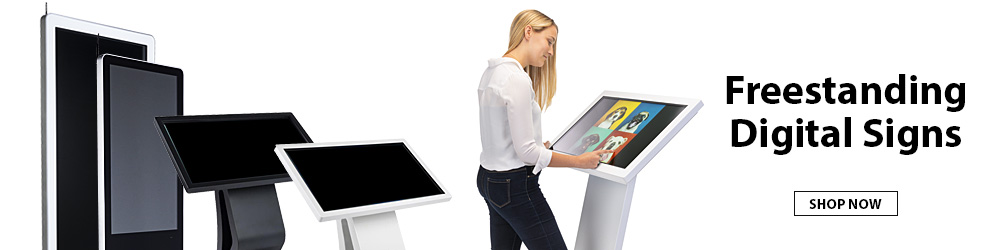 Engage patrons or customers with freestanding digital displays in touch and non-touchscreen models!