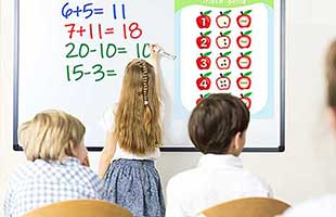 Wired digital interactive whiteboard in a school classroom setting