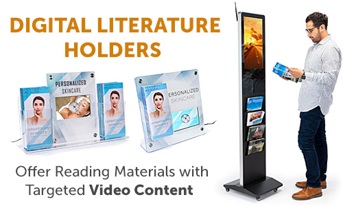 Countertop and floorstanding digital literature holders
