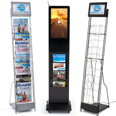 Digital magazine holders featuring video advertising screens