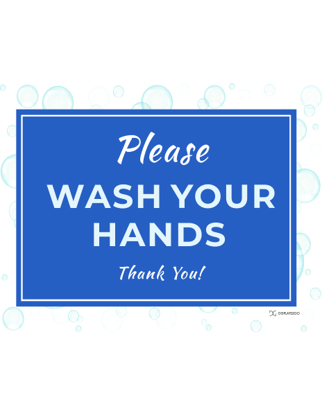 Please wash your hands printable sign in landscape orientation