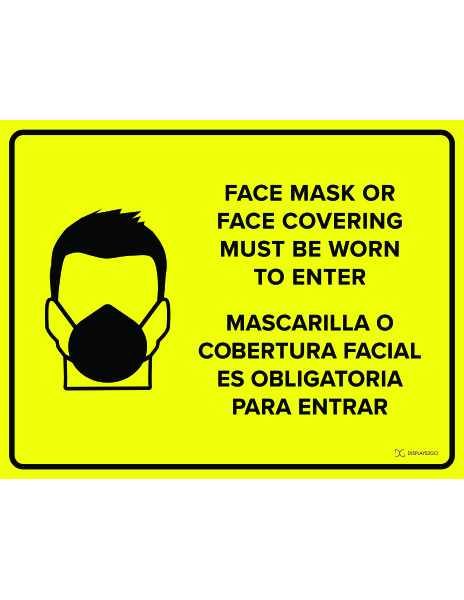Face mask must be worn printable sign in landscape orientation