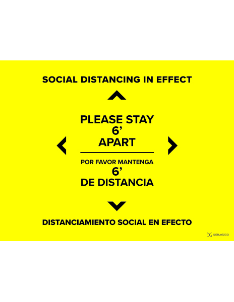 Social distancing in effect printable sign in landscape orientation