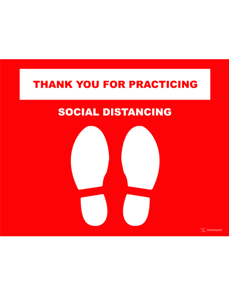 Thank you for practicing social distancing printable sign in landscape orientation