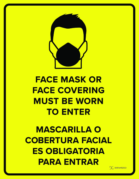 Face mask must be worn printable sign in portrait orientation