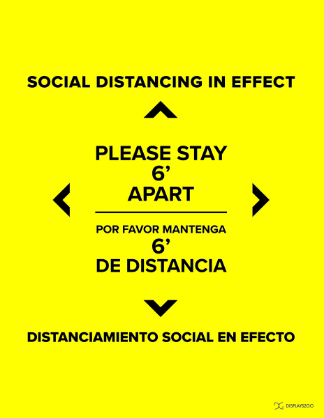 Social distancing in effect printable sign in portrait orientation