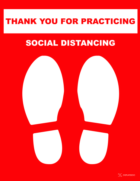 Thank you for practicing social distancing printable sign in portrait orientation