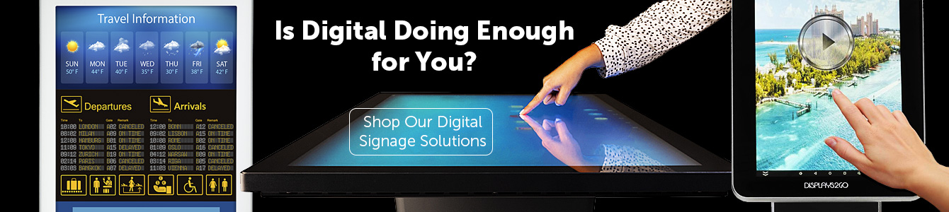 Digital signs, interactive touchscreen displays, and video wall solutions
