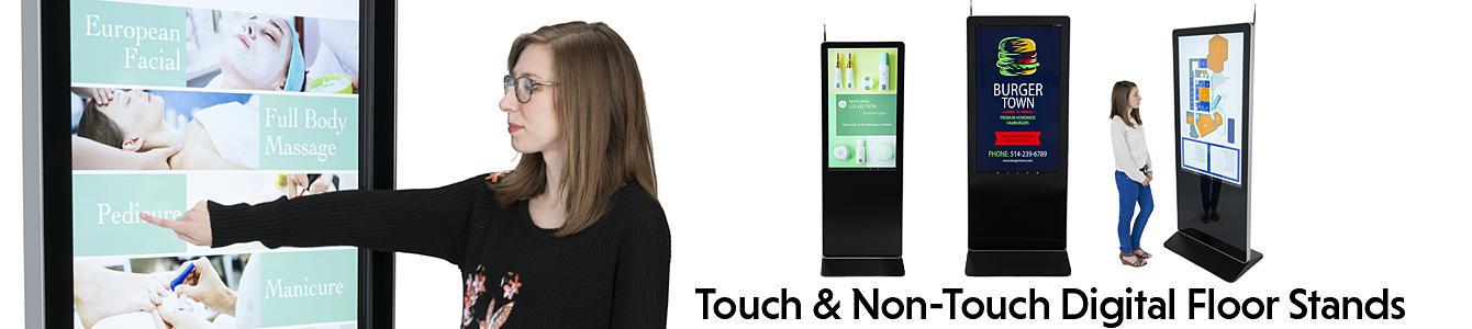 touch and non-touch floor standing digital signage