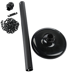 Disassembled black stanchion