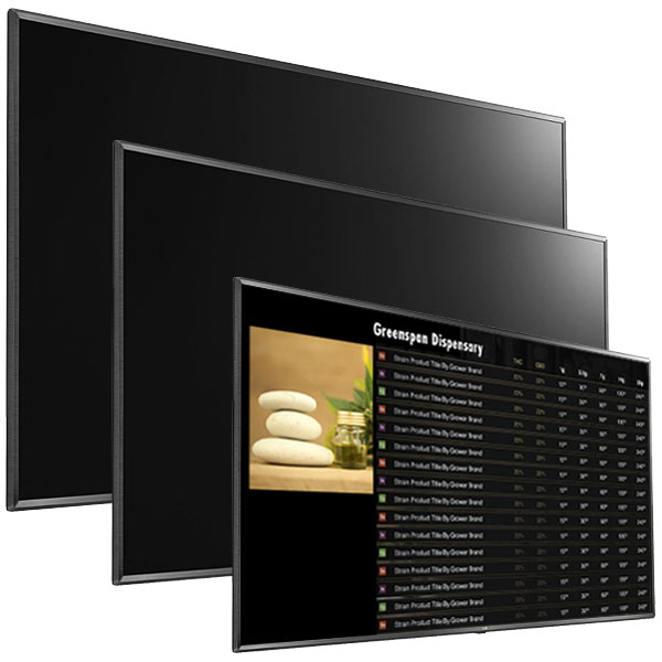 TV monitors for dispensary digital signage